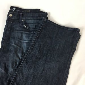 7FAM Relaxed Dark Wash Plus Button Fly Jeans 34x35